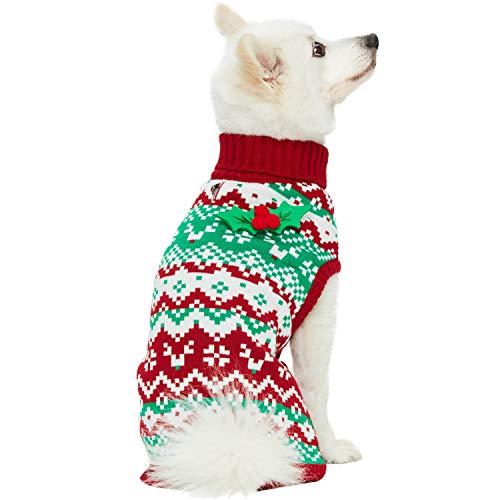 Blueberry Pet 'Ugly Christmas' Festlicher Weihnachts-Rollkragen Rentier Chevron-Zickzack Winter Pullover Hundepulli mit Holly-Deko, Rückenlänge 30cm, Warme Bekleidung für Kleine Hunde
