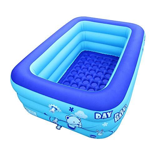 ECOiNVA Whirlpools Aufblasbare Whirlpool mit elektrischer Luftpumpe, faltbar, langlebig, für Erwachsene (groß, blau)