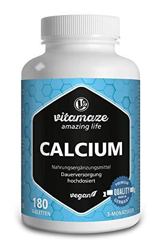 Calcium Tabletten hochdosiert vegan, 180 Tabletten für 3 Monate, 800 mg Kalzium-Carbonat pro Tagesdosis, Organische Nahrungsergänzung ohne Zusatzstoffe, Made in Germany