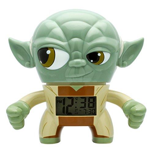 BulbBotz Star Wars Yoda Kinder-Wecker mit Hintergrundbeleuchtung| grün/braun| Kunststoff| 19 cm hoch| LCD-Display| Junge/Mädchen| offiziell