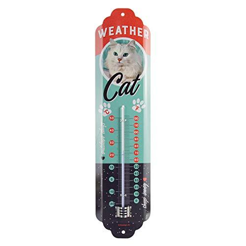 Nostalgic-Art Analoges Retro Thermometer Weather Cat – Geschenk-Idee für Katzen-Besitzer, aus Metall, Vintage-Design zur Dekoration, 6,5 x 28 cm
