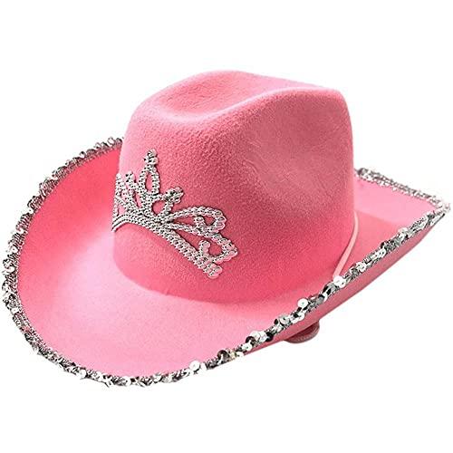 Ruluti 1pc Western-Art-cowboyhut Glitter Cowboy Hut Country Ranch-Feiertags-Kleid-Partei-Hut-rosa