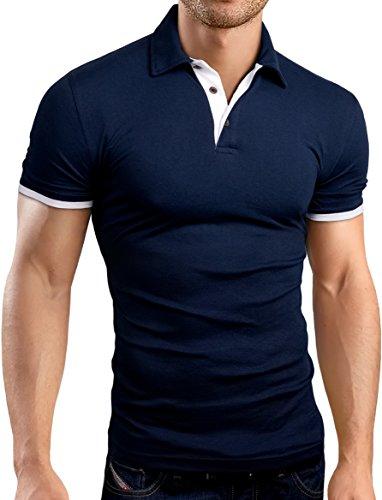Grin&Bear Slim Fit Kontrast Polohemd Poloshirt Polo, Navy, XL, GB160