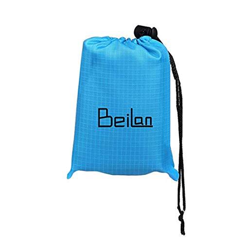 BeiLan Mini Picknickdecke Wasserdicht, Ultraleicht, Kleines Packmaß - Ideal für Ground Sheet, Pocket Blanket, Stranddecke, Taschendecke, Campingdecke, Sitzunterlage (140 * 152cm, Blau & Schwarz)