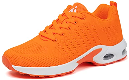 Mishansha Sneaker Damen Laufschuhe Air Sportschuhe Dämpfung Leichtes Fitnessschuhe Slip on Bequem Straßenlaufschuhe Gym Trainer Outdoors Indoor Orange, Gr.40 EU