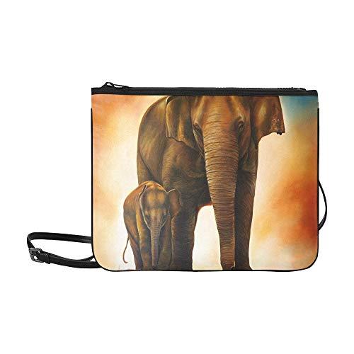 JEOLVP Familien-Elefant-Malerei auf Leinwand Lager Illustration Muster benutzerdefinierte hochwertige Nylon dünne Clutch-Tasche Umhängetasche Umhängetasche