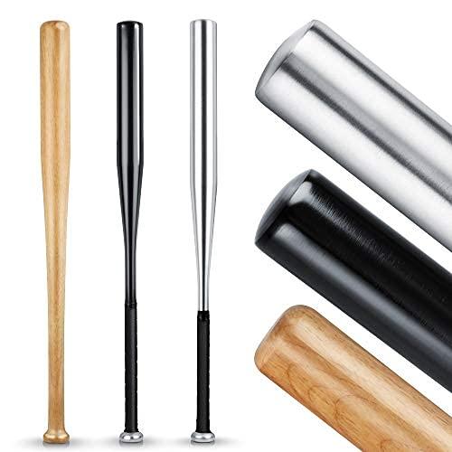 HELDENWERK Baseballschläger aus Holz oder Aluminium - Solide verarbeitet (Silber (Aluminium), Rutschfester Griff 31 Zoll
