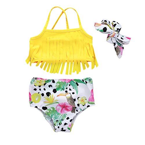 JERFER Kinder Mädchen Obst Drucken Quaste Baden Strand Badeanzug Bikini