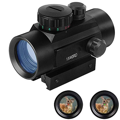 panthem RD40 Red Dot Grün Dot Zielfernrohr Red Dot Visier 11MM | 22MM Schiene Visier Leuchtpunktvisier Rotpunktvisier, HD Reflexvisier Zielfernrohr Rot Grün Punkt Sight mit Halterungen