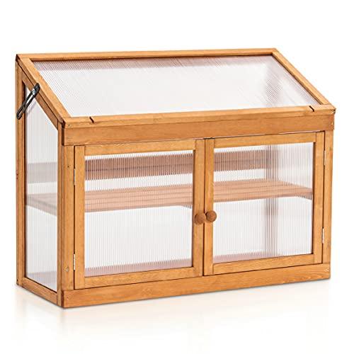 MCombo 2 Etage höhenverstellbares Anlehngewächshaus Treibhaus Pflanzenhaus Aufzuchtschrank 0160, aus Holz und Polycarbonat