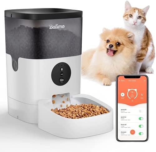 Balimo 4L 2.4G WiFi Automatischer Futterspender für Katze und Hunde,Futterautomat Katze & Hund mit Ton Aufnahmefunktion Timer und Entfernt APP Steuerung