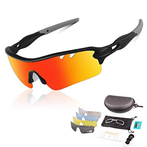 DUDUKING Sportbrille Polarisierte Sonnenbrille für Herren und Damen mit 5 Wechselobjektiven TR90 UV400 Schutz Windschutz Radsportbrille für Outdooraktivitäten Autofahren Fischen Laufen Wandern