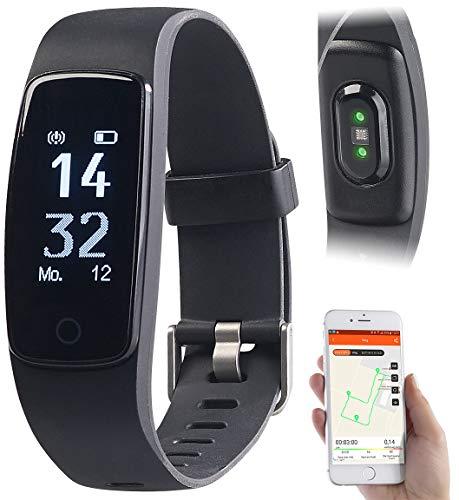 Newgen Medicals Fitness Uhr mit GPS: GPS-Fitness-Armband mit XL-Touch-Display, 14 Sportarten, IP68 (Fitness Armbanduhr)