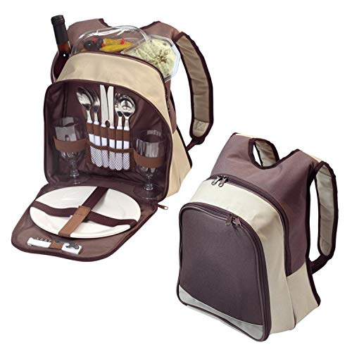 Picknickrucksack für 2 Personen   Picknickset 11-TLG   Deluxe Rucksack zum Picknick mit Kühlfach   Wiederverwendbares Geschirr BPA FREI   Camping-Geschirr mit Besteck, Messer, Löffel, Flaschenöffner,