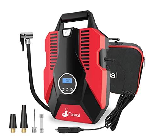 Foseal Reifenfüller Luftpumpe Kompressor Auto 12V für Fahrrad Basketball und Schlauchboote Schnelles Aufpumpen, automatische Abschaltung, voreingestellter Druck, LED-Licht, Ventiladapter