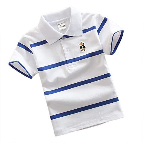 Jungen Polo Shirt Kurzärmlig Sommer T-Shirt Streifen Kinder Reverskragen Tops Jugendliche Schule Oberteil Jersey für 7-13 Jahre ((24#) 165/ ~12-13 Jahre, Weiß)