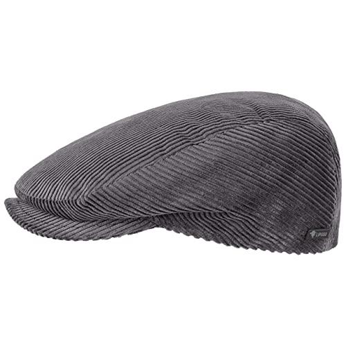 Lipodo Cord Flatcap grau Herren/Damen - Schirmmütze aus Baumwolle - Schiebermütze mit Futter - Cap Größe S 54-55 cm - Cordmütze Sommer/Winter
