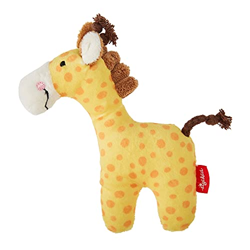 SIGIKID 41170 Rassel Giraffe Red Stars Mädchen und Jungen Babyspielzeug empfohlen ab Geburt gelb