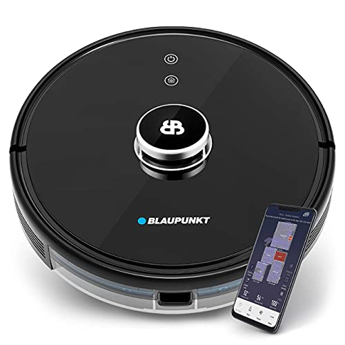 Blaupunkt BlueBot Xtreme - Saugroboter Lasernavigation mit Wischfunktion, interaktive Karten für Etagen + NO-GO Zonen, Staubsauger Roboter 3000Pa Saugkraft, 360° Radarlaser, App + Sprachsteuerung