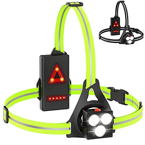 Lauflicht mit Reflektoren,LED Lauflampe Joggen,USB wiederaufladbare brustlampe Laufen,120°Einstellbarer Abstrahlwinkel, Wasserdicht Leichtgewichts, 500 Lumens Running Light für Läufer Joggen Camping