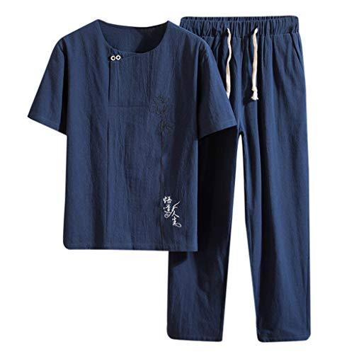 Yowablo Leinenhemd Herren Regular Fit Langarm Hemd Herren Button-down Sommer New Baumwolle und Hanf Kurzarm Langhose Mode Bequemer Anzug (XXL,Marine)