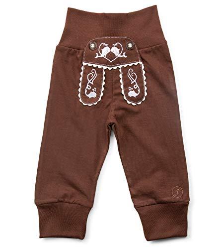 Schöneberger Trachten Couture Baby Stoffhose im Lederhosen Design – Babyhose mit elastischem Bund – Pumphose Kinderhose Bockkitz (98/104, Dunkelbraun)