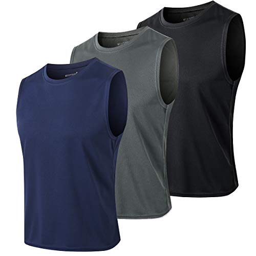 MEETYOO Tank Top Herren, Achselshirts Sport Ärmelloses Shirt Unterhemd Fitness Sleeveless Tshirt für Running Jogging Gym (Schwarz+Blau+Grau, L)