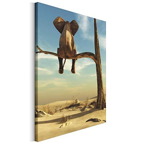 Revolio 30x40 cm Leinwandbild Wandbilder Wohnzimmer Modern Kunstdruck Design Wanddekoration Deko Bild auf Leinwand Bilder 1 Teilig - Elefant Wüste Baum braun blau
