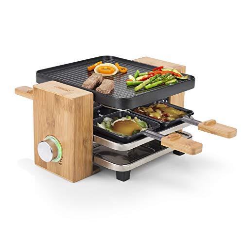 Princess Raclette Grill in Bambusausführung - für bis zu 4 Personen, regelbares Thermostat, 700 Watt, 4 Pfännchen und Spatel, 162900