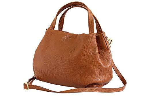 AmbraModa Damen handtasche Henkeltasche Schultertasche aus Echtleder GL023 (Cognac)