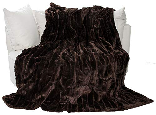 Auro Hochwertige Kuscheldecke-Felldecke für Wohn- und Schlafräume, 200x150 cm, Braun