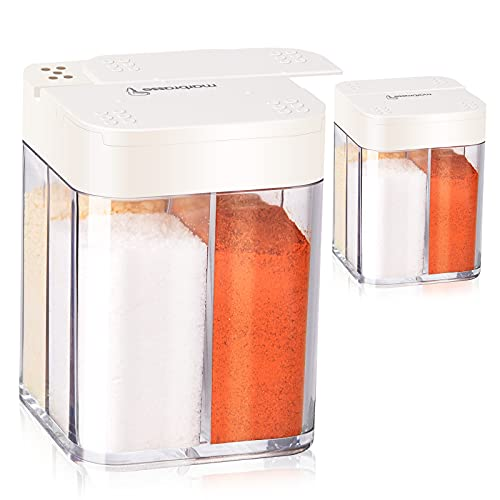 Ulikey Vier in One Gewürzdosen, 4 Stück Gewürzdosen, Pfefferstreuer, Camping Gewürzbox, Gewürzbehälter, Küche Gewürzbox, Transparent Gewürzbehälter für Salz, Pfeffer, Gewürze, Zucker (2 pcs)