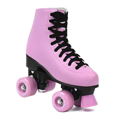 SMJ sport Damen Klassische Retro Rollschuhe | ABEC7 Kugellager | Pink Schwarz Mädchen Classic Roller Skates Inliner Inlineskates | Gr. 35, 36, 37, 38, 39, 40 (39)