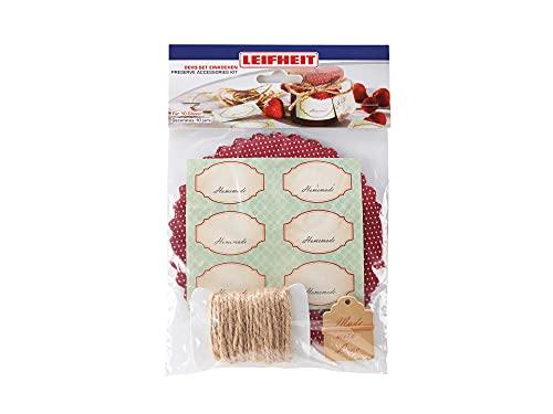 Leifheit Deko-Set Einkochen, mit Marmeladendeckchen, selbstklebenden Etiketten, Grußkarten, Gummis und Schnur, für 10 Gläser, Dekorieren für Eingemachtes und selbstgemachte Marmelade