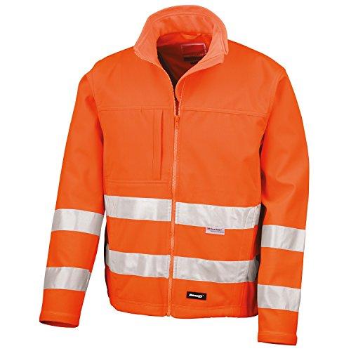 Result Core Herren Hi Vis Winter Softshell Jacke, Wasser und Wind abweisend 3XL,Neonorange