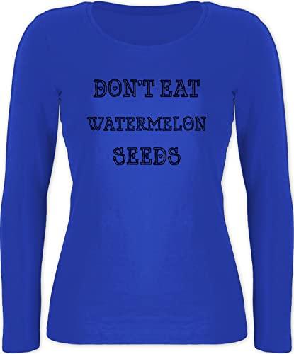 Shirtracer Schwangerschaft Kleidung Geschenk - Don't eat Watermelon Seeds - S - Blau - Fun - BCTW071 - Langarmshirt Damen