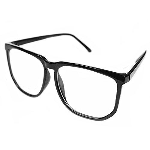 Sanwood, übergroße Unisex-Brille für Nerds und Geeks, gewöhnliches klares Brillenglas Gr. Einheitsgröße, schwarz