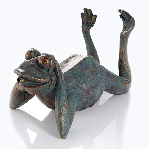 Wasserspeier Figur Frosch aus Kunststein - (L x B x H): ca. 355 x 205 x 240 mm - Schlauchanschluss 13 mm - Schlauchlänge ca. 1,4 m - Wassergarten Dekoration Teichfigur, esotec 100731