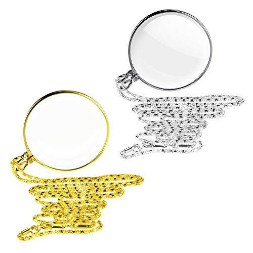 2 PCS HäNgende Lupe, Portable 5X Lupe Monokel-Objektiv Mit HäNgenden Halskette, Novelty unisex monokel, loupe Kette Schmuck Lupe mit Anhänger Optische Linse (Gold/Silber) (Gold/Silber)