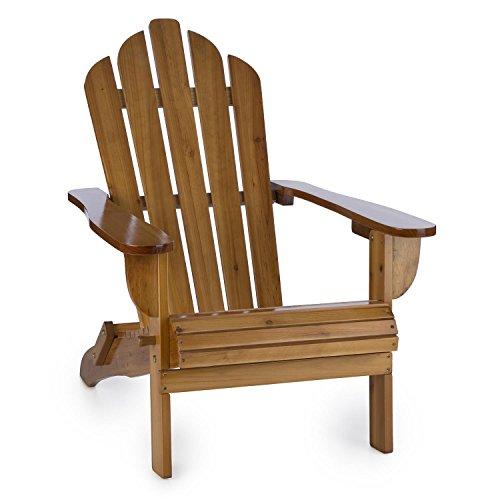 blumfeldt Vermont Gartenstuhl aus Tannenholz - Deluxe Edition, Adirondack-Stuhl, witterungsbeständig, zusammenklappbar, hohe Rückenlehne und Tiefe Sitzfläche, PU-Lackierung, max. 150 kg, braun