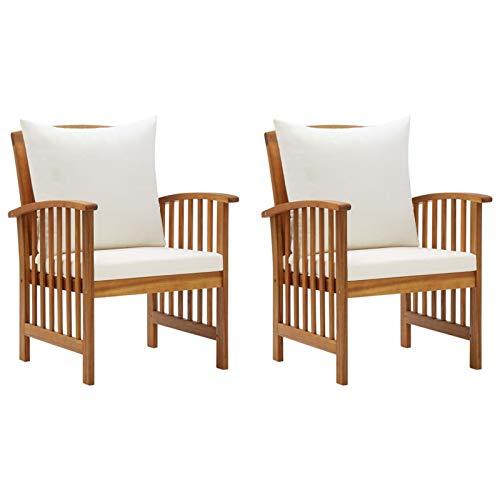 Tidyard Gartenstühle 2 STK.Holz-Gartenstuhl Gartensessel Stuhl Sessel aus massivem Akazienholz Mit Kissen,Gartenmöbel Holzstuhl Stühle Balkonstuhl Terrassenstuhl Gartenstühle 59 x 67 x 83 cm