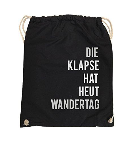 Comedy Bags - DIE Klapse HAT HEUT Wandertag - Turnbeutel - 37x46cm - Farbe: Schwarz/Silber