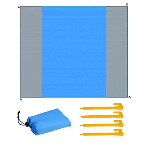 HQCM Picknickdecke 210 x 200 cm, Stranddecke wasserdichte Sandabweisende Campingdecke Strandmatte für Wandern, Sport & Strand Strandtuch Faltbar Tragbar Matte mit 4 Plastik Nagel