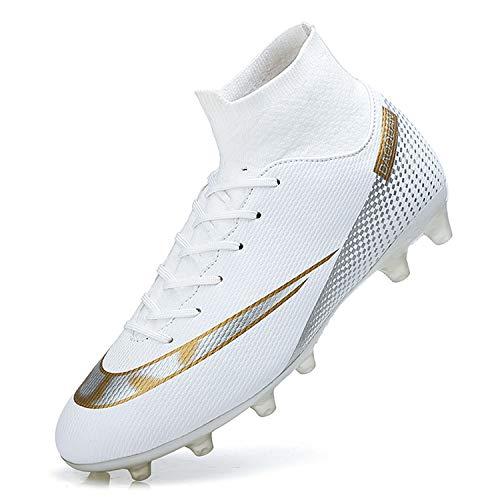 WOWEI Fußballschuhe Herren High Top Spike Cleats Outdoor Athletics Trainingsschuhe Fußball Stiefel,T2150 Weiß,EU44