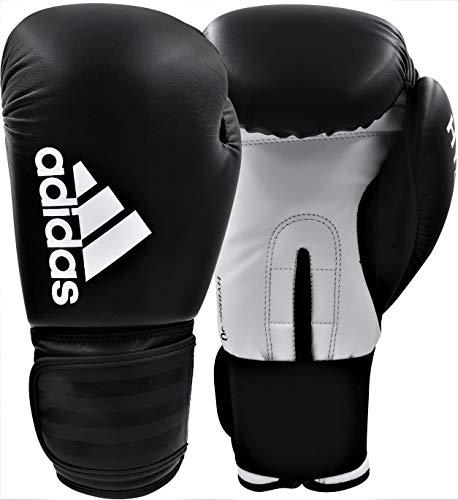 adidas Herren Hybrid 50 Boxhandschuhe, schwarz/weiß, 14 oz