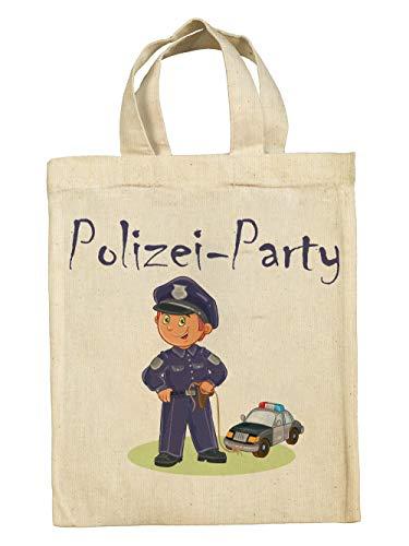 clothinx Lustige Kindergeburtstag Tasche Mitgebsel-Beutel im Set mit Geburtstag-Motto Polizei 5er Pack