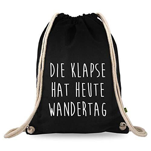 Turnbeutelliebe® Turnbeutel mit Spruch - lustige Motive & Sprüche - Bedruckt - Baumwolle schwarz - Sportbeutel - Rucksack - ca. 12 Liter - 37 x 46 cm (Die Klapse hat Heute Wandertag)
