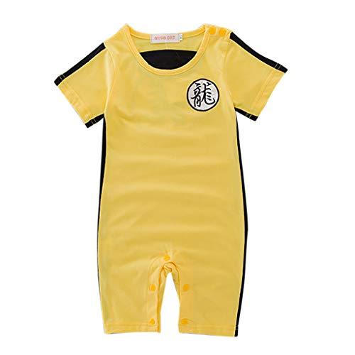 C Baby Mädchen Jungen Overall Kurzarm Strampler Outfits Bruce Lee Kostüm Neugeborene Dragon Ball Z Schneeanzüge Jumpsuit Babykleidung Body Playsuit Romper Spielanzug Outfits (Gelb, 6-9M)