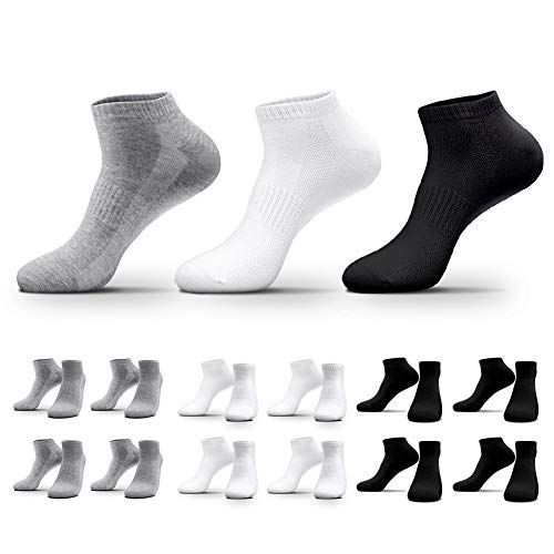 QINCAO 12 Paar Sneaker Socken Herren Damen Sportsocken Baumwoll Unisex Schwarz Weiß Grau, 47-50