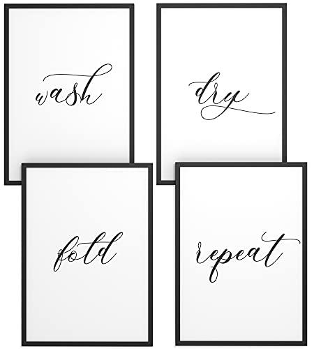 Papierschmiede® Spruch-Poster 4er-Set in DIN A4   Wash Dry Fold Repeat   Typografie-Bilder Bad Küche Waschraum ohne Rahmen